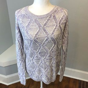 Sonoma Life + Style Purple Cable Knit Sweater Lg